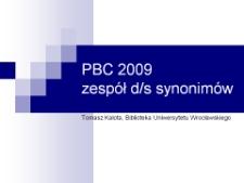 PBC 2009 - Zespół d/s synonimów