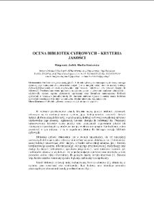 Ocena bibliotek cyfrowych – kryteria jakości