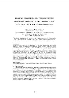 Projekt GEOHERITAGE – Cyfrowe kopie obiektów dziedzictwa kulturowego w systemie informacji geograficznej