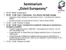 Seminarium Dzień Europeany - program