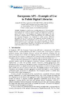 Europeana API – Example of Use in Polish Digital Libraries