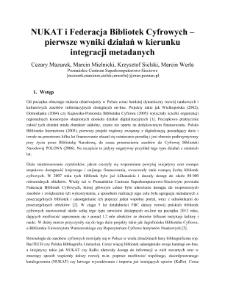 NUKAT i Federacja Bibliotek Cyfrowych – pierwsze wyniki działań w kierunku integracji metadanych