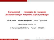 Korpusomat — narzędzie do tworzenia przeszukiwalnych korpusów języka polskiego