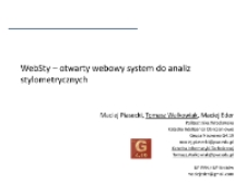 WebSty – otwarty webowy system do analiz stylometrycznych