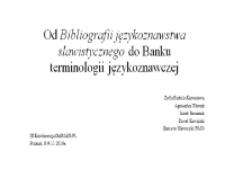 Od Bibliografii językoznawstwa slawistycznego do Banku terminologii językoznawczej