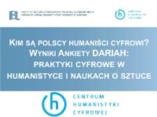 Kim są Polscy humaniści cyfrowi? Wyniki ankiety DARIAH